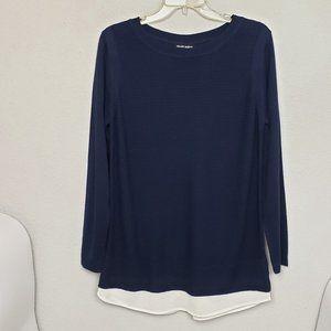 Hilary Radley two-fer blue sweater size Medium